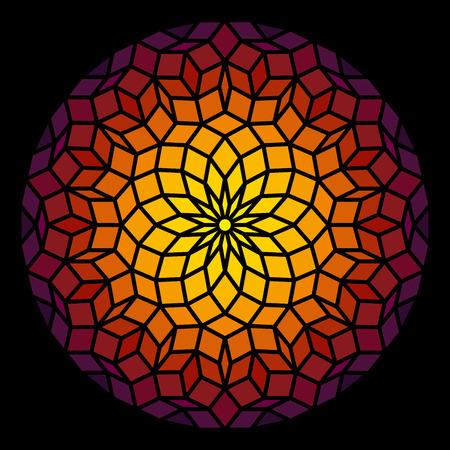 Penrose Leadlight in Form eines Penrose-Muster - eine spezifische geometrische Figur in der Mathematik Illustration