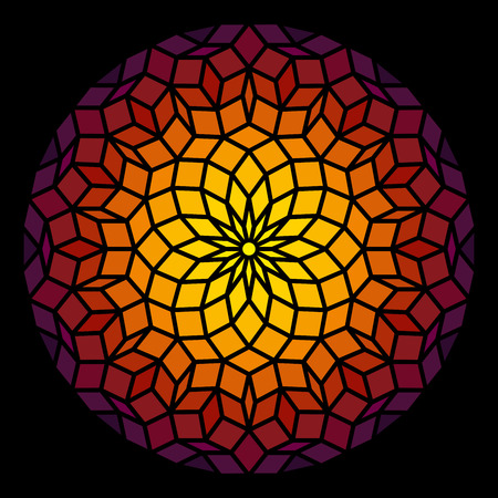 sacred geometry: Penrose Leadlight in form of a Penrose pattern - a specific geometric figure in mathematics  Illustration