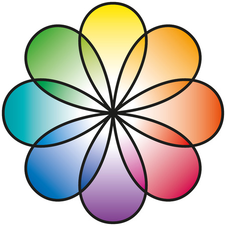color mixing: Rainbow Flower with eight petals in rainbow colors  Illustration