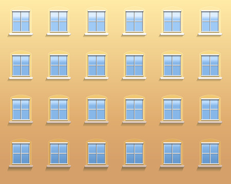 Exterior wall of an apartment building with twenty four windows in which the blue sky is reflected
