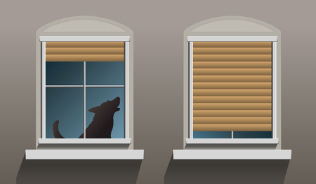 desertion: A lonely howling dog is sitting behind a window with partially let down shutters   Illustration