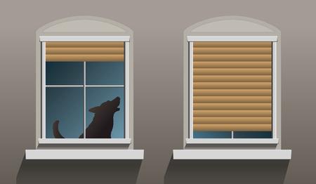 contaminacion acustica: Un perro aullando solitaria está sentado detrás de una ventana con persianas parcialmente descendidos Vectores
