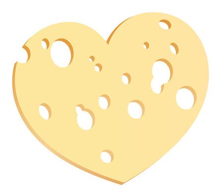 pareja comiendo: Rebanada de queso con agujeros en forma de corazón Vectores