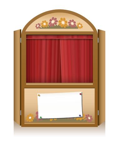 marioneta de madera: Punz�n de madera y cabina de judy con la cortina roja cerrado y un aviso bandera puesta en escena en blanco
