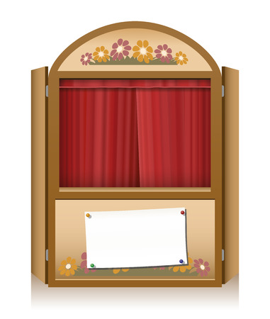 puppet theatre: Wooden punch and judy booth with closed red curtain and a blank staging announcement banner