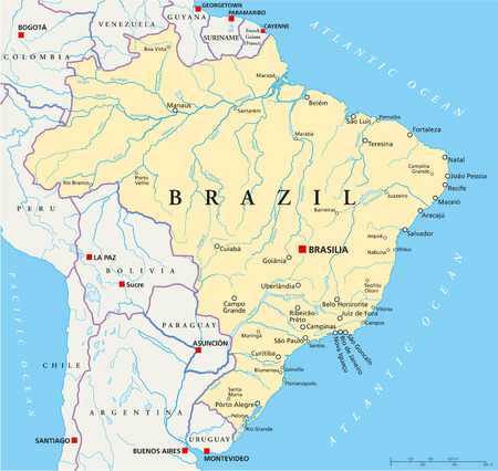 brasilia: Brazil Political Map with capital Brasilia, national borders, most important cities, rivers and lakes  Vector illustration with english labeling and scale