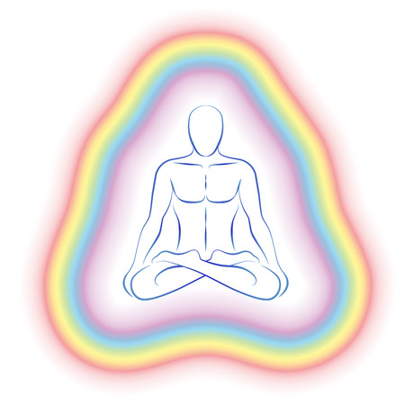 Aura or subtle body of a meditating man in yoga position  Vector illustration on white background  Ilustração