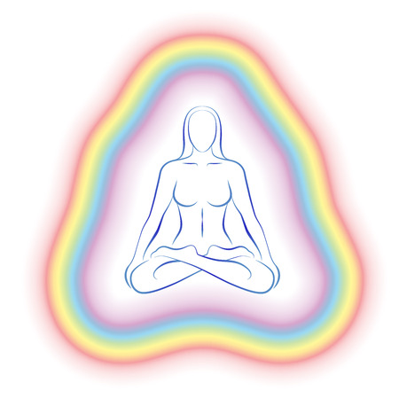 aura energy: Aura or subtle body of a meditating woman in yoga position  Illustration