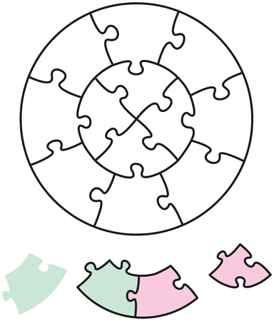 interlocked: Jigsaw Puzzle Two Circles with single pieces which can be individually removed and arranged  Vector illustration on white background