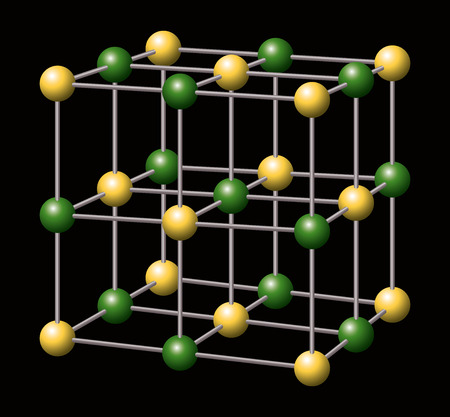 ions: Sodium Chloride - NaCl - Salt - Sodium and Chloride ions a forming the three-dimensional cubic crystal structure of Sodium chloride