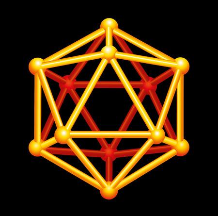 Gold-Ikosaeder Dreidimensionale Form - Eine platonische Fest in der Geometrie