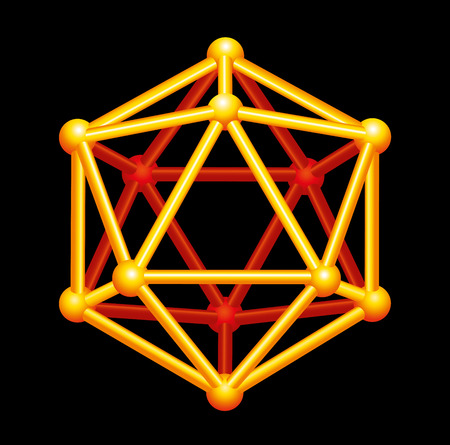 polyhedron: Icosahedron Gold Three-dimensional Shape - A Platonic Solid in geometry