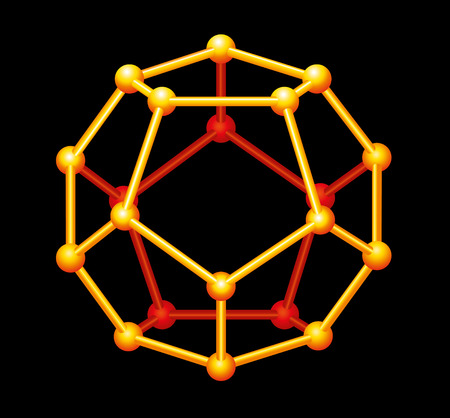 vertices: Dodecahedron Gold Three-dimensional Shape - A Platonic solid in geometry, composed of twelve regular pentagonal faces, with three meeting at each vertex  Vector structure isolated on black background