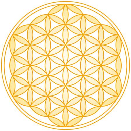 생명 황금 그라데이션의 꽃 - 기하학적 그림, 다수의 균등 간격, 중복 원 구성