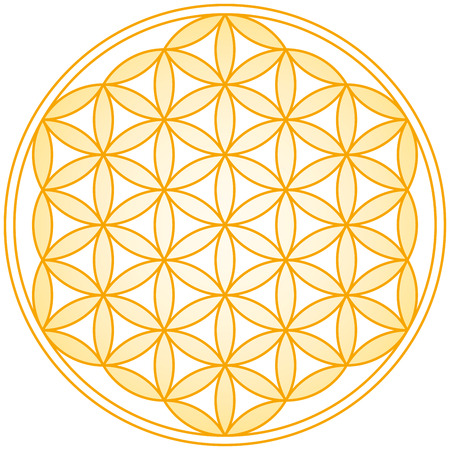 Flower of Life Golden Gradient - Geometrical figure, composed of multiple evenly-spaced, overlapping circles  Vector