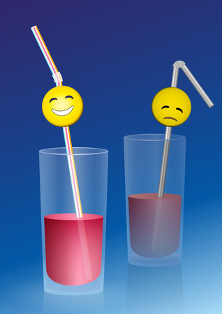 Half full glass with a happy smiley on a straw, and a half empty glass with a sad smiley