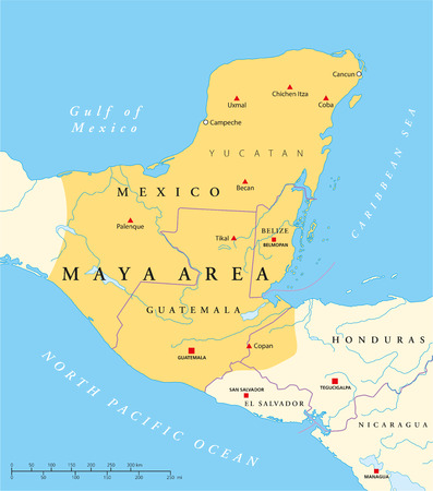 Maya High Culture Area Map - Classic and post-classic Maya civilization in Mesoamerica  Political map with capitals, national borders, most important ancient cities, rivers and lakes Vector