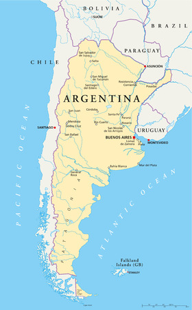 paraguay: Argentina Political Map with capital Buenos Aires, national borders, most important cities, rivers and lakes