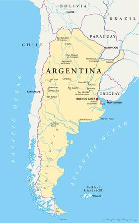 Argentinië Politieke kaart met de hoofdstad Buenos Aires, nationale grenzen, de belangrijkste steden, rivieren en meren