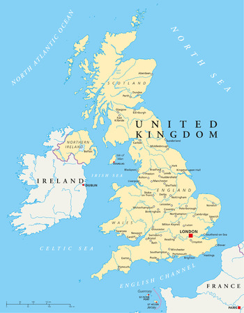 United Kingdom Political Map with capital London, national borders, most important cities, rivers and lakes