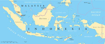 mapa de china: Malasia e Indonesia Mapa Pol�tico con capiteles Kuala Lumpur y Yakarta, con bordes y lagos nacionales Vectores
