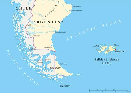 Falkland Eilanden Policikal Kaart en een deel van Zuid-Amerika met de nationale grenzen, de belangrijkste steden, rivieren en meren
