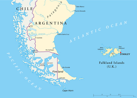 Falkland Islands Policikal Map and part of South America with national borders, most important cities, rivers and lakes 向量圖像