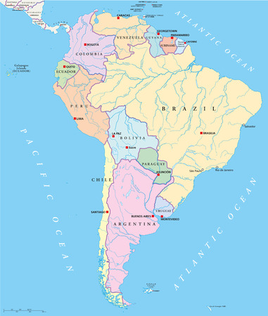 South America Single States Map with single states,capitals, national borders, lakes and rivers Vector