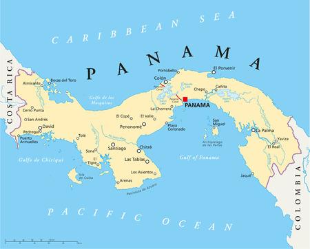 자본, 국경, 가장 중요한 도시, 강, 호수와 파나마의 정치지도