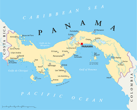 Panama Political Map with capital, national borders, most important cities, rivers and lakes Illustration