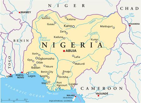 Nigeria Politische Karte mit Hauptstadt Abuja, nationale Grenzen, die wichtigsten Städte, Flüsse und Seen