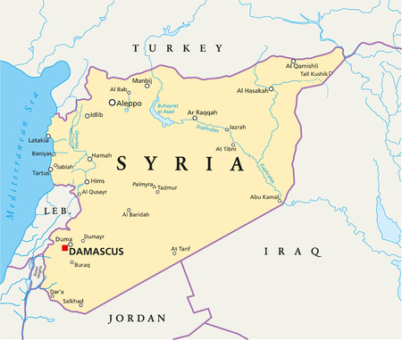 assad: Syria Political Map with capital Damascus, national borders, most important cities, rivers and lakes