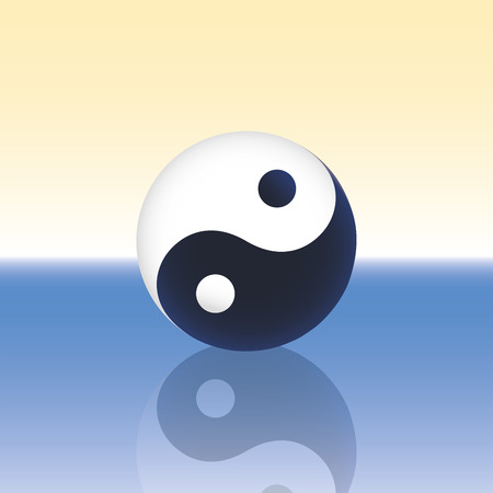 floating on water: Yin Yang symbol - three-dimensional shape - floating calmly over the water surface of the blue sea  Vector illustration on gradient background