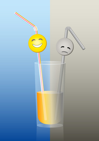 Half full or half empty glass with a happy smiley and a sad smiley on straws, a metaphor for positive and negative thinking  Vector illustration