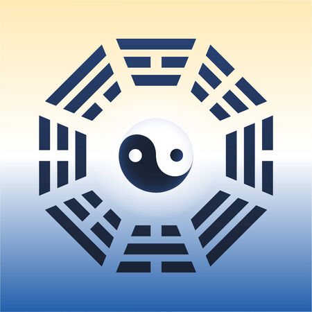 trigram: I Ching with eight trigrams and the yin and yang symbol in the center  Vector illustration on gradient background