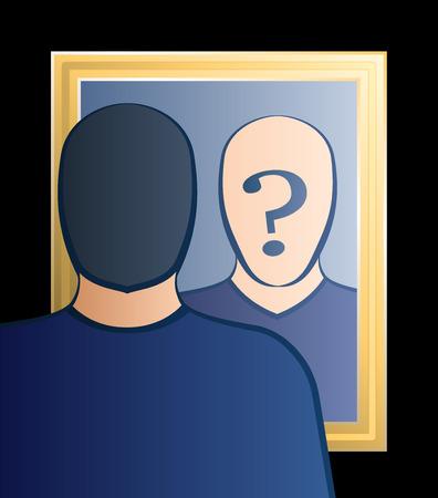 Een man is op zoek naar de spiegel zich af te vragen: Wie ben ik in zijn gezicht is er een groot vraagteken bij degenen bewustzijn in twijfel Vector illustratie brengen Stock Illustratie