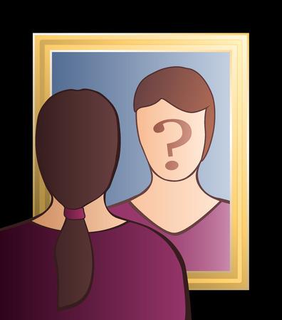 COGNICION: Una mujer está mirando en el espejo preguntándose quién soy yo En su cara hay un gran signo de interrogación para traer conciencia a las pregunta Vector