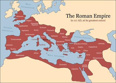 El Imperio Romano en su mayor extensión en 117 AD en la época de Trajano, además de las provincias principales ilustración vectorial Foto de archivo - 29938592