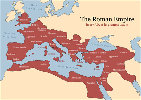 L'Impero Romano alla sua massima estensione nel 117 dC, al tempo di Traiano, più province principali illustrazione vettoriale Archivio Fotografico - 29938592