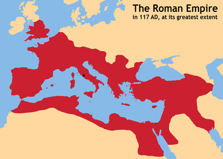 The Roman Empire in ancient Europe at its greatest extent in 117 AD at the time of Trajan  Vector illustration  Illustration