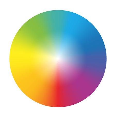 白い背景の上のグラデーション虹色ホイール分離ベクトル図