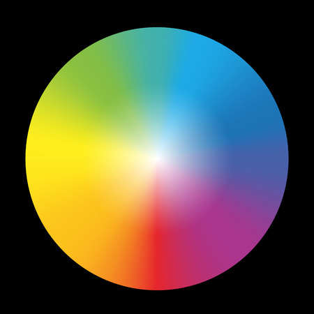 Gradient rainbow color wheel  Isolated vector illustration on black background  Illustration