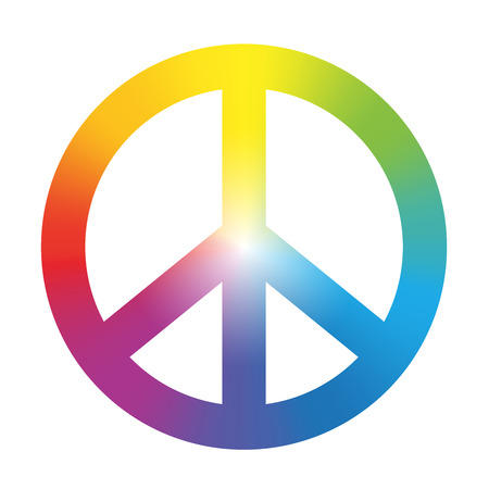 흰색 배경에 원형 무지개 그라데이션 색상 격리 된 벡터 일러스트와 함께 평화의 상징