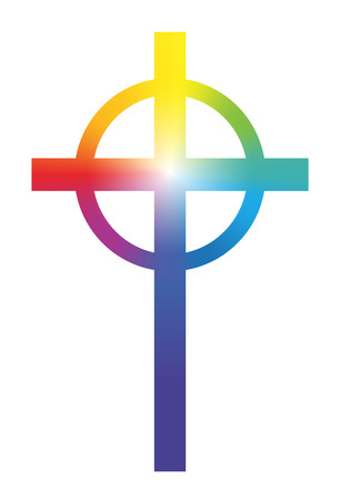 Christian cross with circular rainbow gradient coloring and luminescent center  Isolated vector illustration on white background  向量圖像
