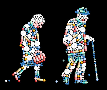 передозировка: Таблетки, таблетки и капсулы, которые формируют силуэт пожилой женщины и старик векторные иллюстрации на черном фоне