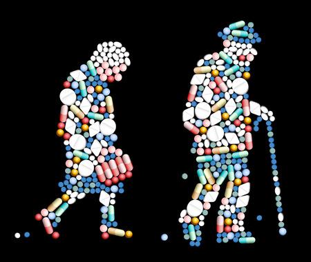 Los comprimidos, píldoras y cápsulas, que dan forma a la silueta de una mujer de edad y un anciano ilustración vectorial sobre fondo negro Ilustración de vector