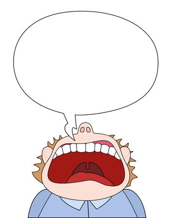 temper: Shout of rage comic figure with empty speech bubble  Isolated vector illustration on white background