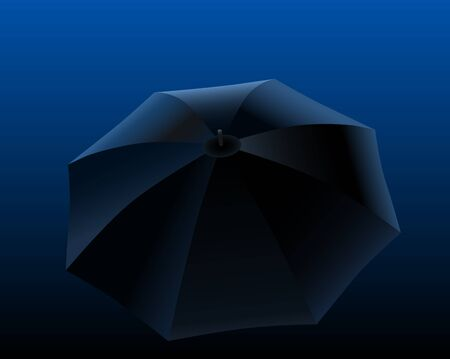 miserable: Black umbrella on black to blue gradient background  Vector illustration