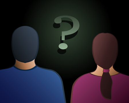 Back view of a man and a woman with a question mark between them  Vector illustration on gradient background