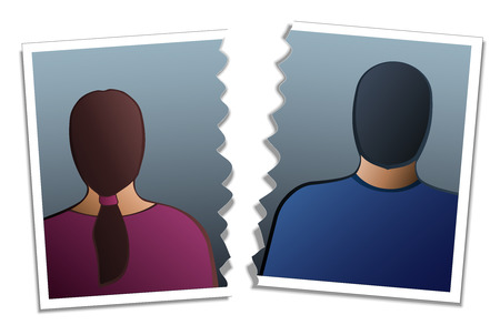 occiput: Back view of a woman and a man on a photo that is torn in two  Isolated vector illustration on white background